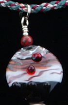 Kumihimo traditional Tsuri-ito Edo Yatsu, silver findings, silver bead, glass beads, flameworked Moretti glass focal bead.