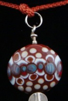 Kumihimo tradional yatsu-oimatsu silk braid, silver findings, silver, glass beads, flameworked Moretti glass focal bead.
