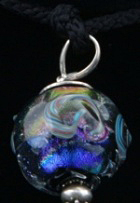 "Kumihimo traditional ""Edo-yatsu"" silk braid, silver findings, flameworked Moretti glass and dichroic glass focal bead."