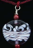 Kumihimo traditional Edo-Yatsu silk braid, silver findings, glass beads, flameworked Moretti glass focal bead.