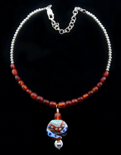 Necklace of silver beads and findings, amber beads, Moretti glass